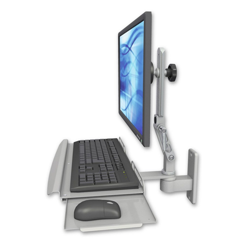 Ergomounts Monitor Keyboard And Mouse Wall Mount Lt Grey